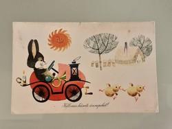 Régi húsvéti képeslap nyuszis rajzos levelezőlap