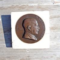 Edvi Illés György 1944-es bronz plakett márvány talpon Dr. Krajcsik Géza