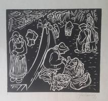 FARKASHÁZY: Rakpart (1947, linómetszet 21,5x24 cm) Duna-part, Budapest, sokalakos, fekete-fehér