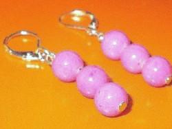 Rózsaszínű Jade ásvány Gyöngy Fülbevaló 2.
