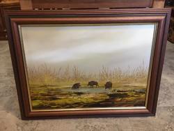 Vadászos olajfestmény,kép