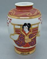 B145 Japán kézzel festett porcelán váza - csodaszép darab!