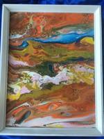 Absztrakt szignózatlan olaj vászon festmény .
