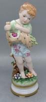 B214 Meisseni virággyűjtő kislány - gyűjtői ritkaság, hibátlan vitrin állapotú!