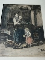 Munkácsy Mihály után, Kórusz József - Két család színezett rézkarc 1953