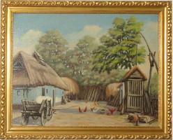 Gyönyörű festmény - zsákvászonra festett tanyasi életkép Tornai jelzéssel
