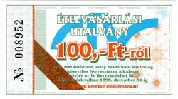 Ív Kereskedelmi Rt.ételvásárlási utalvány 100 Forint - 1998