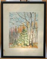 Erdőrészletet ábrázoló akvarell