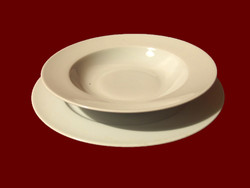 Hófehér alföldi porcelán leveses mély és lapos tányér pótlásnak