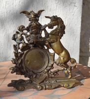 Szobor ló , unikornis ,Zsebóra tartó,fotó,vagy gyűrű tartó,sas szobor a tetején, nehéz öntvény