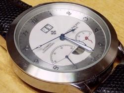 Patek Philippe Geneve Automatic Chronograph acél tokban bőr szíjjal. Újszerű állapotban.