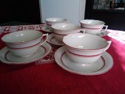 Herendi nagy méretű teás-kávés csészék, pink-arany Tercia festéssel.