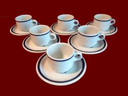 Kék csíkos alföldi porcelán mokkás, kávés készlet 6-6 csésze és tányér / 2 készlet van belőle