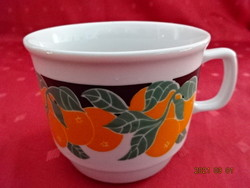 Zsolnay porcelán bögre, narancs mintával, átmérője 9,5 cm.