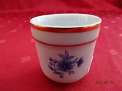 Zsolnay porcelán, kék virágos pálinkás kupica, magassága 4 cm