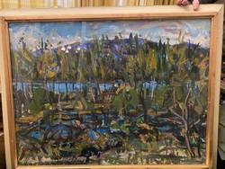 Festmény :Uchrig Zsigmond Őszi Duna-part