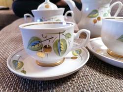Kétszemélyes, szovjet porcelán kávés/teáskészlet gyönyörű, egyedi mintával, dús aranyozással