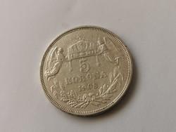 1908 Ferenc József ezüst 5 korona 24 gramm 0,900 szép darab