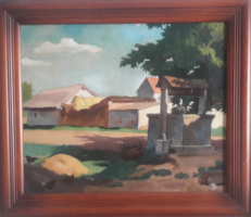 GÖNCZI GEBHARDT TIBOR: A kútnál (olaj-vászon 50x60+ kerettel) nyár, falu, utcakép, fény-árnyék játék