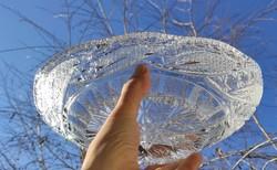 Kristály kínáló Asztalközép,tàl szépen csiszolt ólom kristály!