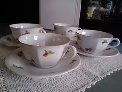 Drasche porcelán kis virágos kávés-teás csészék együtt a régi időkből!