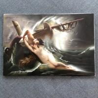 """Antik K.P.M. Berlini kézzel festett porcelán kép plakett Gustav Wertheimer """"Kiss of the Wave"""" 1891"""