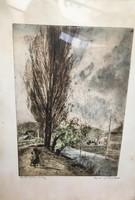 Aszódi Weil Erzsébet(1901-1976) :  Hulló falevelek Rézkarc, papír, jelzett, üvegezett fakeretben,