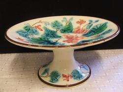 Gyönyörű antik majolika talpas asztalközép,kínáló