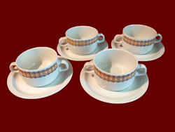 4 db barna mintás alföldi porcelán leveses csésze, tálka, fehér tányérral