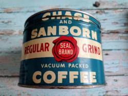 Chase and Sanborn vintage amerikai fém kávédoboz 1930-ból (TÖRTÉNETTEL)