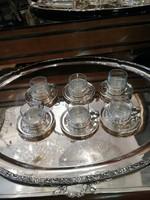 Ezüst szecessziós kávés pohár alátéttel készlet, üveg betéttel.