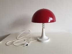 Régi retro nagy méretű fémbúrás két izzós asztali gombalámpa lámpa mid century