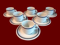 Kék csíkos alföldi porcelán mokkás, kávés készlet 6-6 csésze és tányér