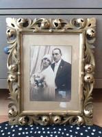 Antik aranyozott Florentin fa keret üvegezett esküvői fotóval
