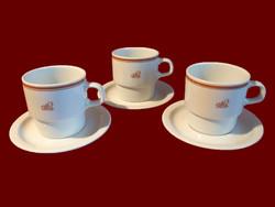 3 db barna csíkos alföldi porcelán teás bögre, csésze tányérkával