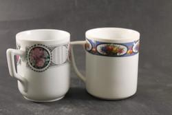 Antik rózsás porcelán bögre pár 526