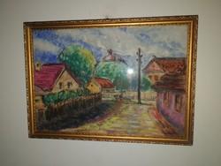 Szentendre - olajfestmény, - szignózott:  I.V.I. -  aukción 1 hétig, de akár azonnal is megvehető!
