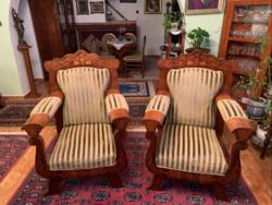 Antik intarziás ülőgarnitúra, 3 személyes + 2 fotel