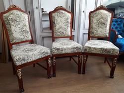 Gyönyörű neobarokk székek 3 db felújítva