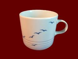Ritka sirály mintás alföldi porcelán bögre, csésze