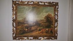 FLORENTIN, képkeret, falc 40 x 50 cm, külméret 53 x 63 cm, antik, fa