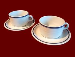2 db kék csíkos alföldi porcelán teás csésze és tányér