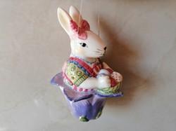 Húsvéti nyuszi virágkehelyben, függeszthető dekoráció