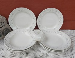 Ritka apró kék pöttyös Gránit tányérok, lapos ,mély kicsi tál tálka Gyűjtői darabok