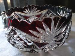 Bíbor színű kristály asztalközép kínáló