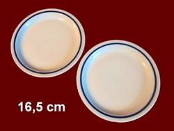 2 db kék csíkos alföldi porcelán tányér, mogyorós tálka