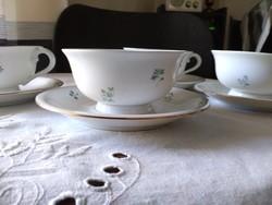Herendi teás/capuccinos csészék zöld mintás, négy garnitúra