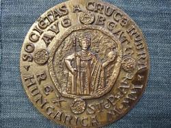 Szent István egyoldalas bronz plakett 11cm (id46801)