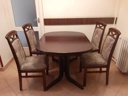 Gyönyörű ovális retro étkező asztal garnitúra 6 db székkel