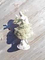 Régi csipkés szoknyás, kézzel festett figurális porcelán, Made in Occupied Japan